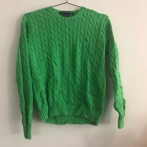 Green Cotton Cable Crewneck Sweater